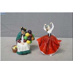 """Two small Royal Doulton figurines including """"The Old Balloon Seller"""" HN2129 and '""""Karen"""" HN3270"""