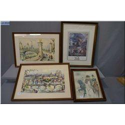 Four vintage framed prints including Napoleon and Paris street scene motif prints