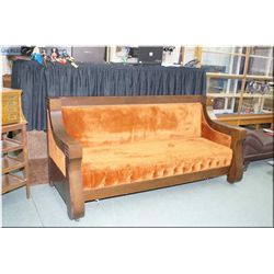 Antique quarter cut oak Empire style folding sofa bed made by Pullman Coach Co. Chicago, note comes