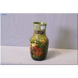 """Antique hand painted pottery vase decorated in floral motif marked MSL 8"""" in height"""