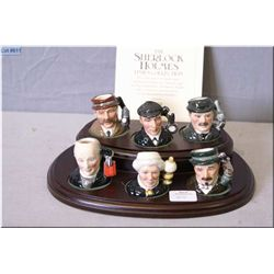 Six piece complete Royal Doulton limited edition Sherlock Holmes tinies character jug collection, al
