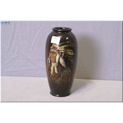 Royal Doulton hand painted vase with a first nation portrait in full head dress, signed by artist 8""