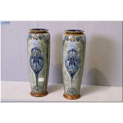 "A pair of antique Royal Doulton vases with nouveau influence 14"" in height"