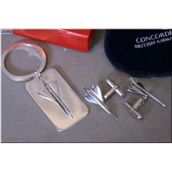 "Links of London sterling silver ""British Airways Concorde"" cufflinks and matching keychain"