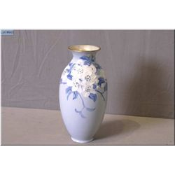 "Doulton Burslem bone china hand painted and embossed floral motif vases signed by artist 9"" in heigh"