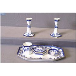 A vintage blue and white bone china tray and accessories including candleholders etc. made by Wedgwo