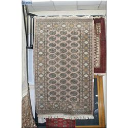 "Persian wool are rug with geometric border and pattern and a taupe background 98"" X 62"""