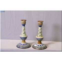 "A pair of antique Doulton Lambeth majolica finished candle sticks 9 1/2"" in height"