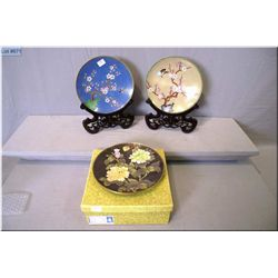 "Three Cloisonn' plates with tree and bird motif, butterfly and floral 8"" in diameter"