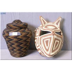 "A vintage hand woven basket decorated in zigzag glass beads, 9"" in height plus a new woven mask"