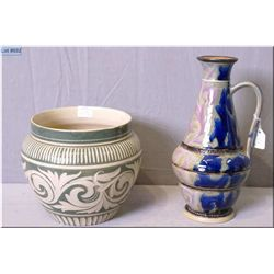 "A Doulton Lambeth mottled designed pitcher 10"" in height and a Doulton Lambeth glazed pottery bowl 6"