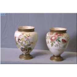 "A pair of Doulton vases with hand painted floral and gilt decoration 7"" in height"