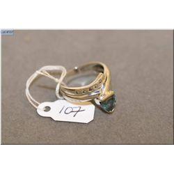 Ladies 10kt white gold, diamond and aquamarine ring