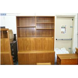 Danish made two piece teak cabinet with two door under storage and drop front surface