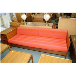Teak framed three seat sofa with attached storage/end table