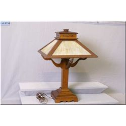 Antique oak and slag glass Mission style table lamp