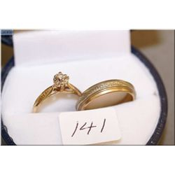 10kt yellow and white gold band and a 10kt yellow and white gold solitaire ring set with 0.025ct dia