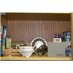 Selection of vintage collectibles including hand mixer, vase, boxed Stewardess travel iron, glasswar