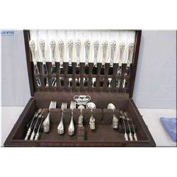 """Wooden canteen containing a selection of Northumbria """"Normandy Rose"""" flatware including twelve each"""