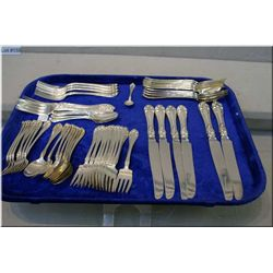 A selection of Northumbria Normandy Rose sterling silver flatware including two dinner knives, four