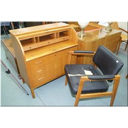 Teak cylinder desk with fitted interior and pull out writing surface and teak framed open armed chai