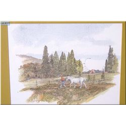 "Framed hand enhanced print ""Lee Coll Stables, the Valley series"" by artist Meredith Evans"