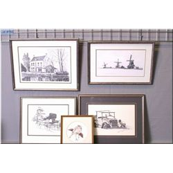 Four Nick Prings limited edition prints and a framed print, all artist signed