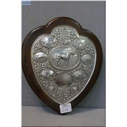Sterling silver memorial equestrian plaque dedicated to War World I Captain and dated 1915