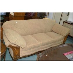 Depression era full sized sofa with walnut show wood and cabriole feet