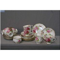 Selection of Royal Albert American Beauty china including seven cups and saucers, six side plates, c