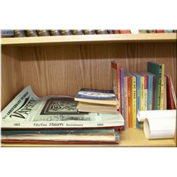 Selection of vintage books including POGO, Peanuts comic annuals circa 1950-1960, Variety and Annive