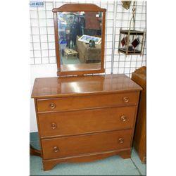 Three drawer maple mirrored dresser