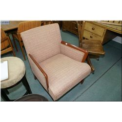 Retro brocade upholstered arm chair by Snyder's with original finish and upholstery