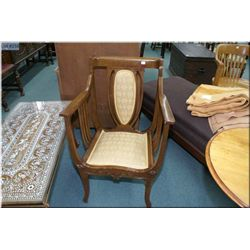 Mid 20th century antique style open arm parlour chair with brocade upholstered seat and back
