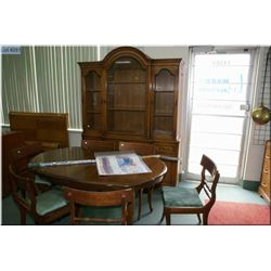 Chest on chest cabinet with fold down fitted desk drawer plus dining table and six chairs