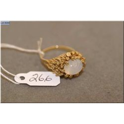 Ladies 10kt yellow gold and synthetic cabochon moonstone set ring