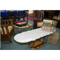 Two retro occasional table with marble tops and gilt bases