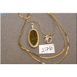 """Ladies 10kt yellow gold chain plus a ladies 14kt yellow gold and ammonite pendant and a gold """"10"""" pe"""