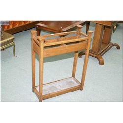 Antique oak two section stick/umbrella stand with drip tray