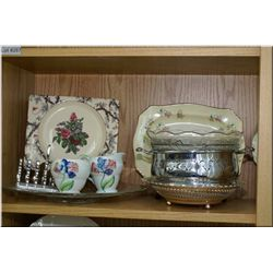 A selection of vintage collectibles including cream and sugar, divided dish, plates, ruby vase etc.