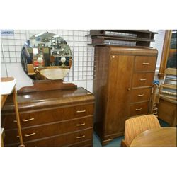 Three drawer mirrored dresser and matching cedar lined chiffarobe