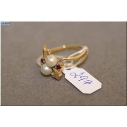 Ladies 14kt yellow gold, pearl and synthetic ruby ring