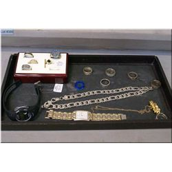 Selection of men's costume jewellery including rings, watches etc. plus a 10kt yellow gold ring set