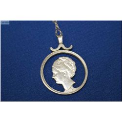 Vintage carved coin pendant with chain