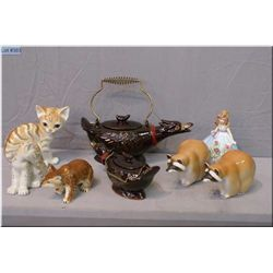 Selection of porcelain and ceramic collectibles including Josef Original, animals made in the USSR e