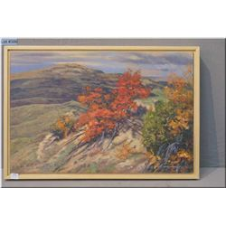 "Framed acrylic on canvas painting ""Chokecherry Ridge"" by artist Dean Francis 16"" X 24"""