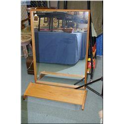 Wall mount teak shelf and teak framed mirror