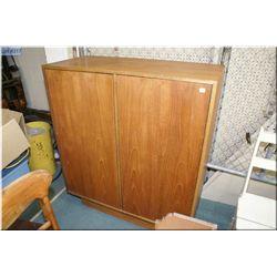 Two door teak storage cabinet