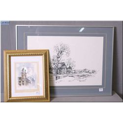 Two Meredith Evans prints including a rural cottage and Edmonton Post Office tower