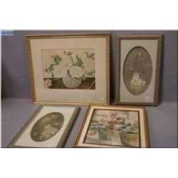 Two original watercolour florals plus two framed pressed flower collages by Janice Lutsenko